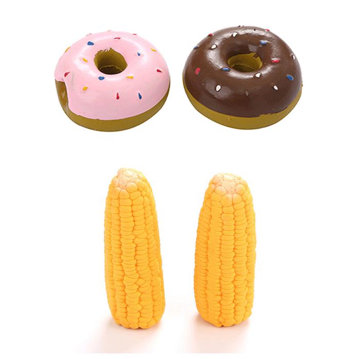 딩동펫 반려동물 장난감 옥수수 2p + 도넛 2종세트, 혼합색상, 1세트