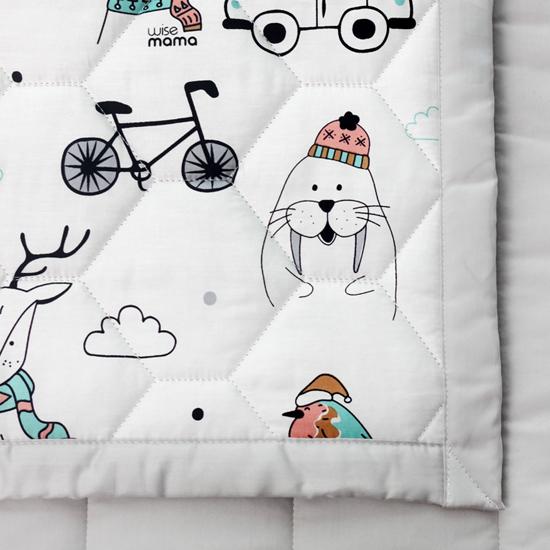 와이즈마마 양면 아기 쿨매트 순면 풍기인견 리버서블 패드, 토니