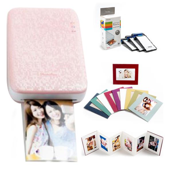 포토비 포토프린터 휴대용 패밀리 패키지 핑크 + 종이액자 랜덤발송 10p, CMP-3100W
