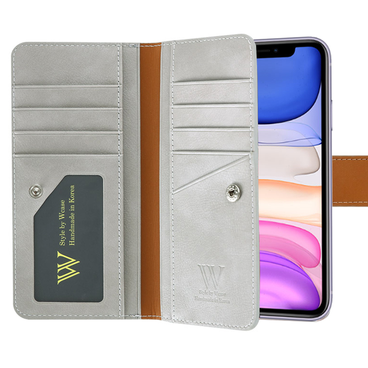 더블유케이스 블루라벨 양면지갑 휴대폰 케이스 + 핸드 스트랩
