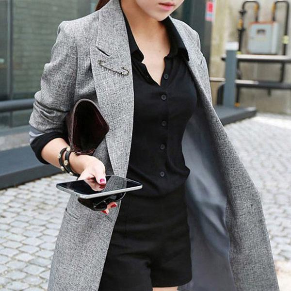 포플러앤씨 여성용 피셔 피크카라 자켓