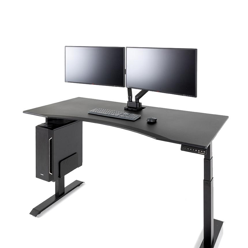 루나랩 듀얼모터 전동높이조절 책상 커브형 1500 + 듀얼모터 책상다리 방문설치, 블랙