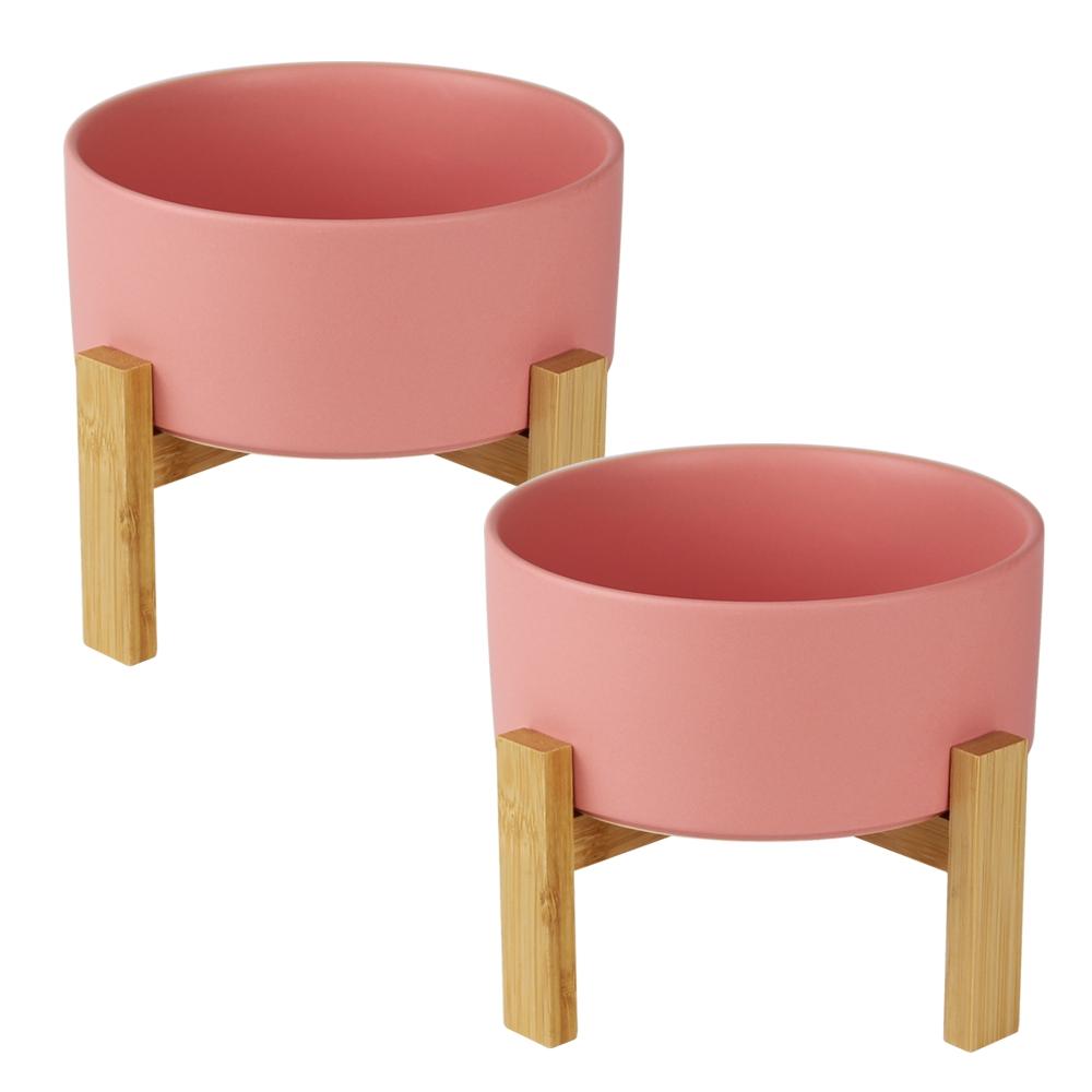 멍지 반려동물 심플 디자인 도자기 식기 2단 S, 핑크, 2개