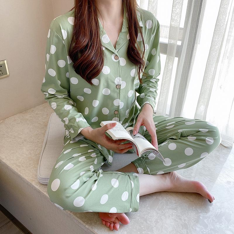 민트코코아 여성용 그린도트 긴팔 잠옷 상하의 세트