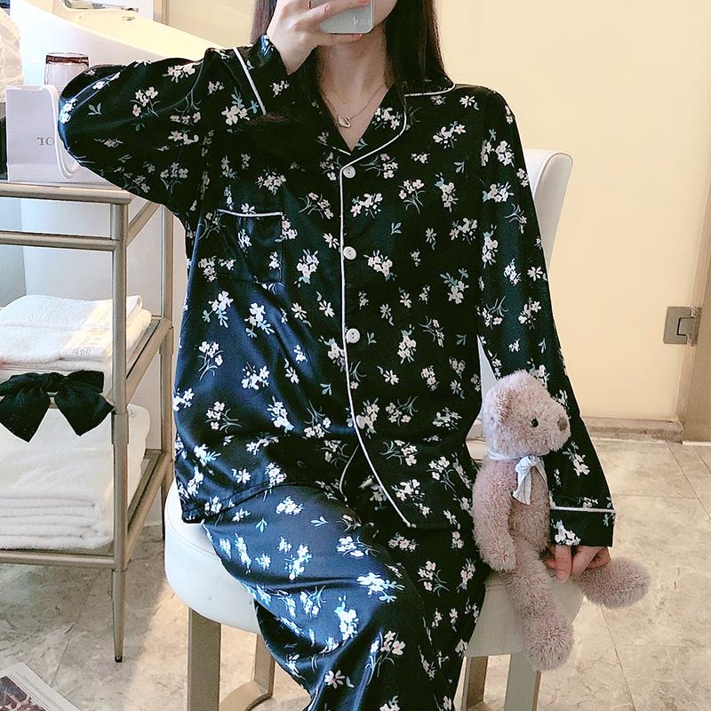 민트코코아 여성용 잔꽃 긴팔 잠옷 상하의 세트
