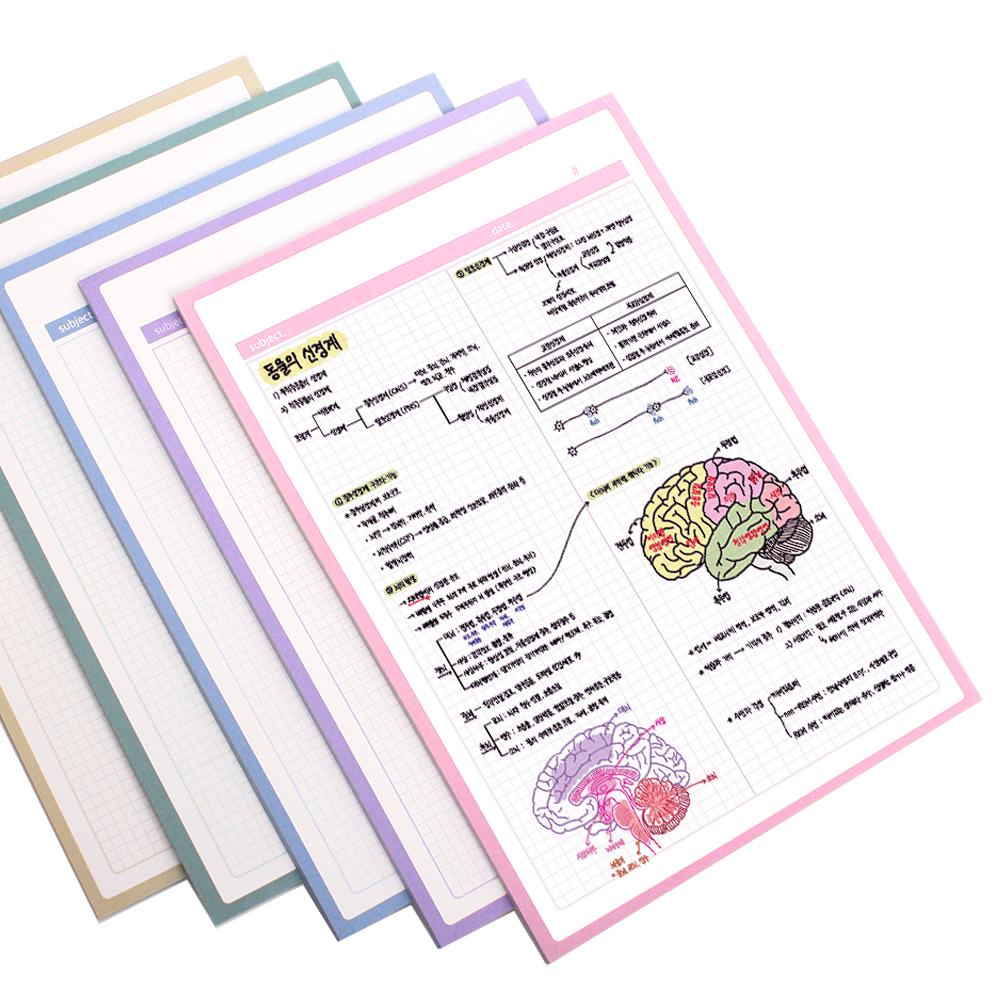 심플 모눈 공시생 떡메모지 5종 세트 B5, 라이트핑크, 블루바이올렛, 인디블루, 씨그린, 크림옐로우, 1세트