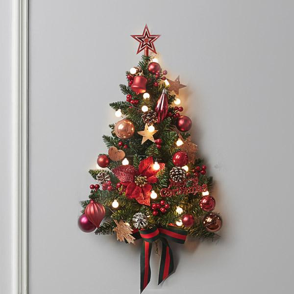 아웃팅 크리스마스 하프벽트리 전구 장식 풀세트 브릭레드, 혼합색상