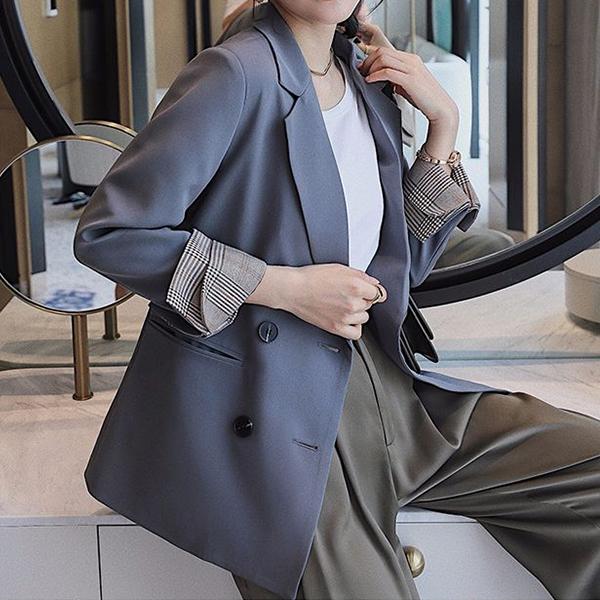 포플러앤씨 여성용 알렌 체크 소매 배색 자켓