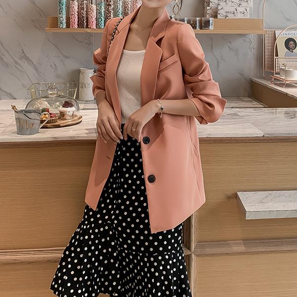 포플러앤씨 여성용 레프 소매 배색 자켓