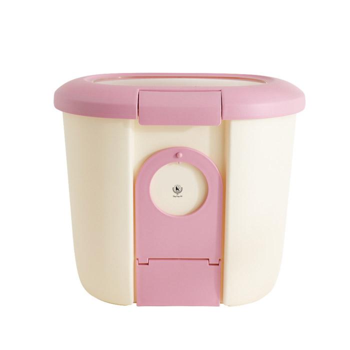 딩동펫 반려동물 사료보관통 겸용 식기, 핑크