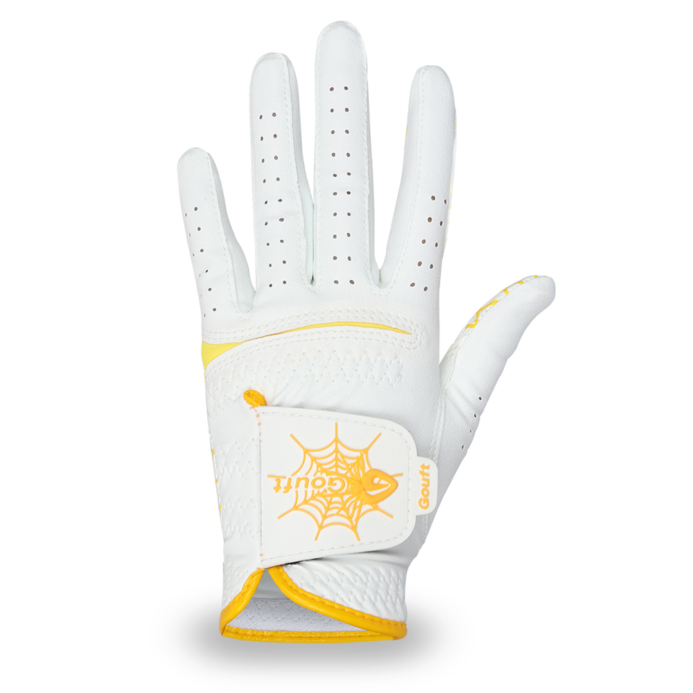고프트 여성용 스파이더웹 화이트 에디션 골프장갑 왼손착용 SWG, 옐로우