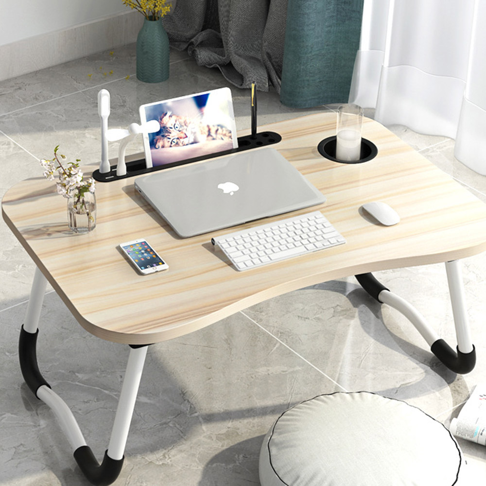 탑리빙 USB 노트북테이블 + 선풍기 + 라이트, 아카시아