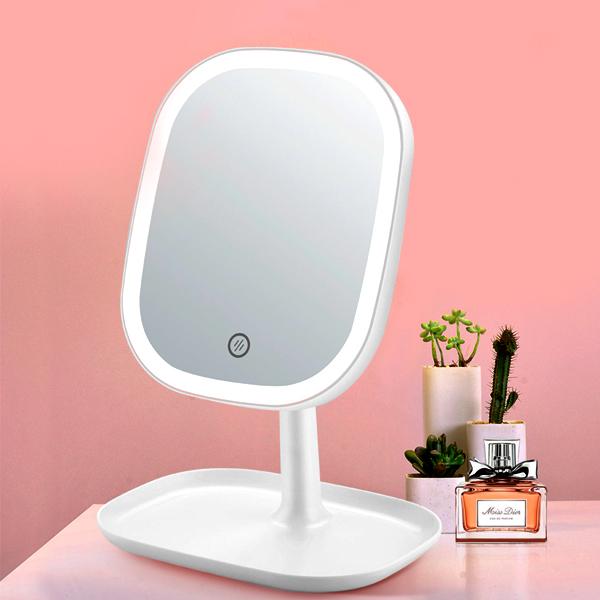 모가비 충전식 LED 스마트 조명 거울, 화이트