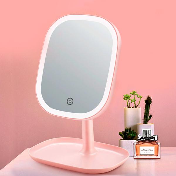 모가비 충전식 LED 스마트 조명 거울, 핑크