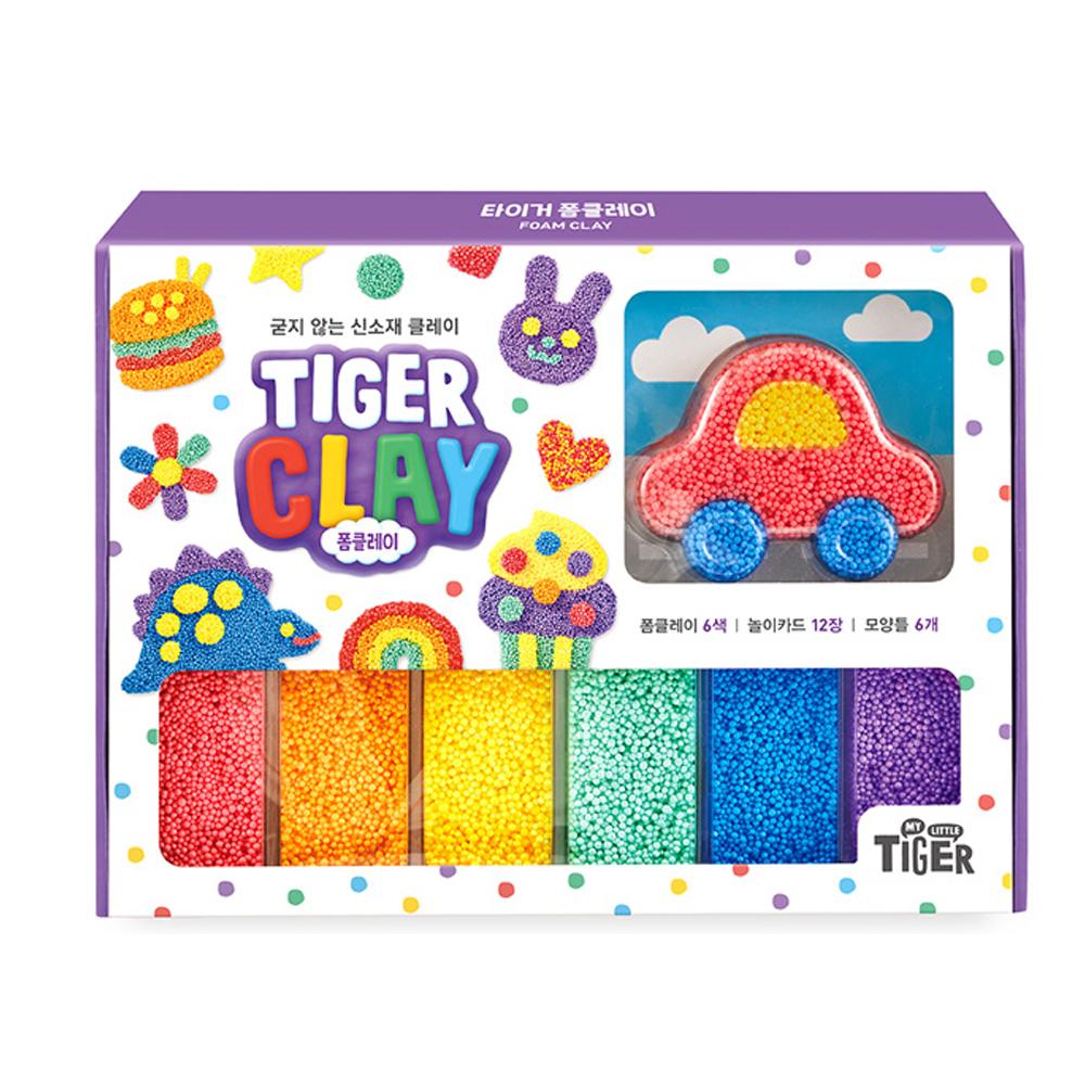 마이리틀타이거 폼클레이 6색 + 놀이카드 12p + 모양틀 6p 세트, 1세트, 혼합색상