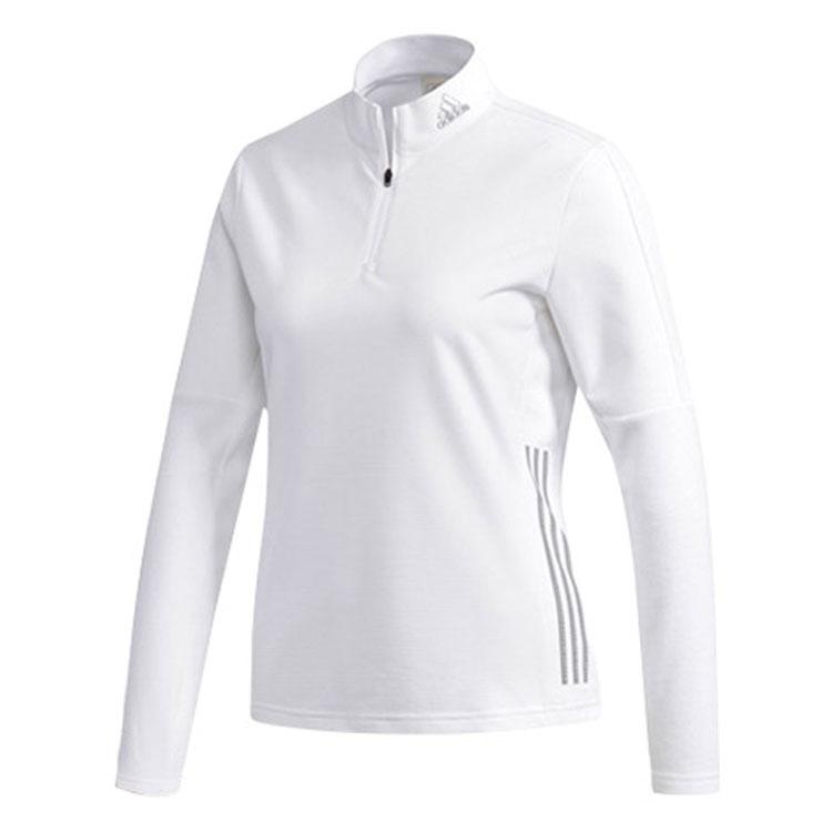 아디다스 여성용 하프 집 긴팔 티셔츠 DJ2566, 화이트