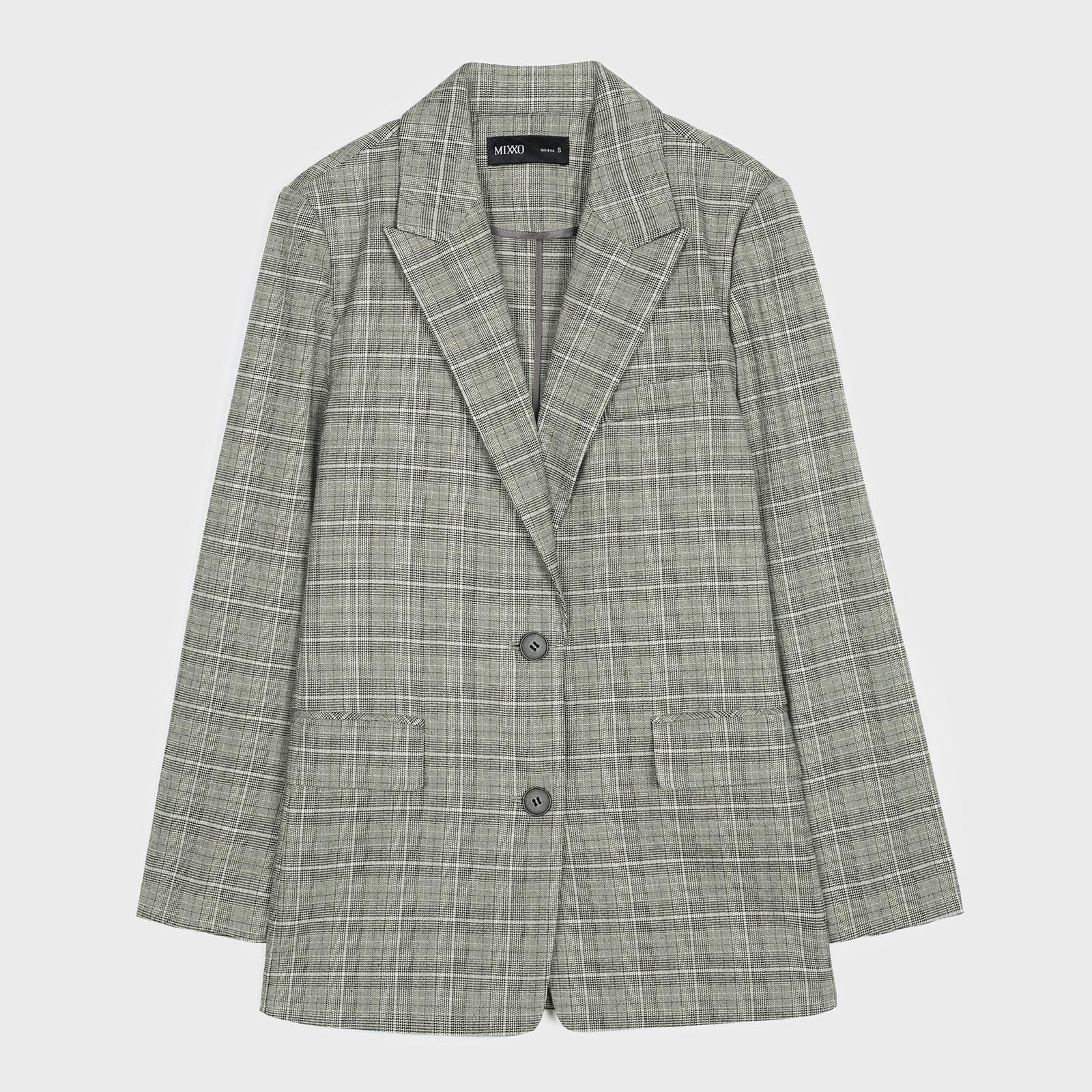 미쏘 여성용 체크 일자핏 싱글 자켓