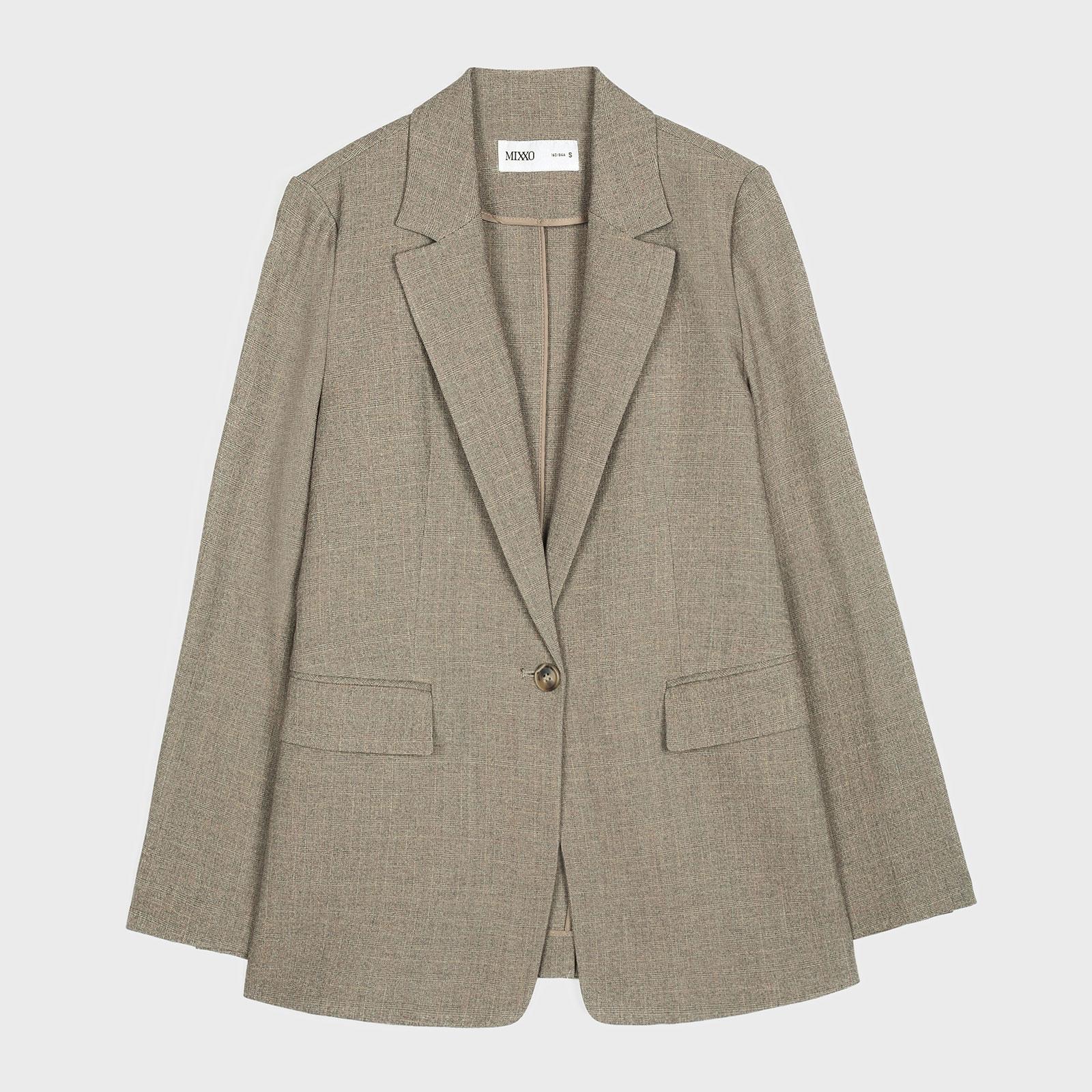 미쏘 여성용 체크 슬림핏 싱글 자켓