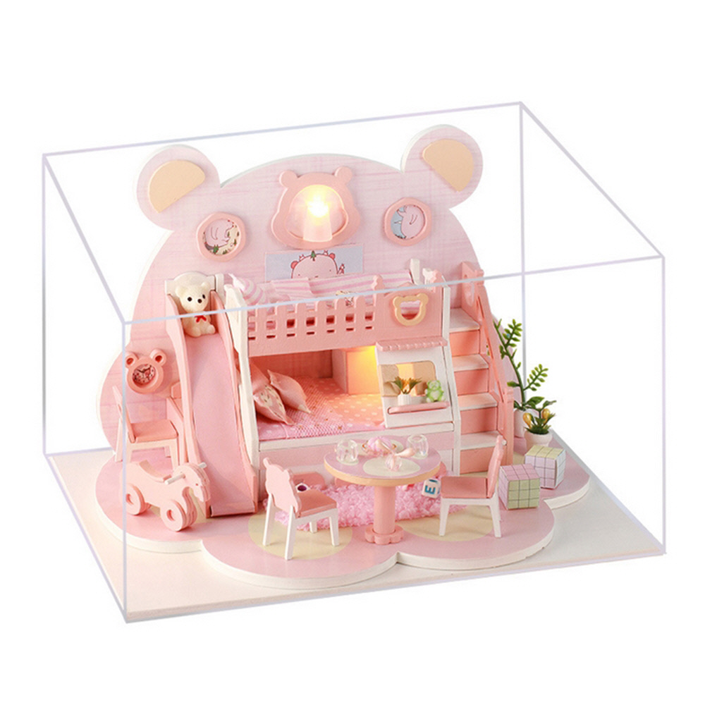 DIY 미니어처 하우스 핑크 베어 하우스, 혼합색상