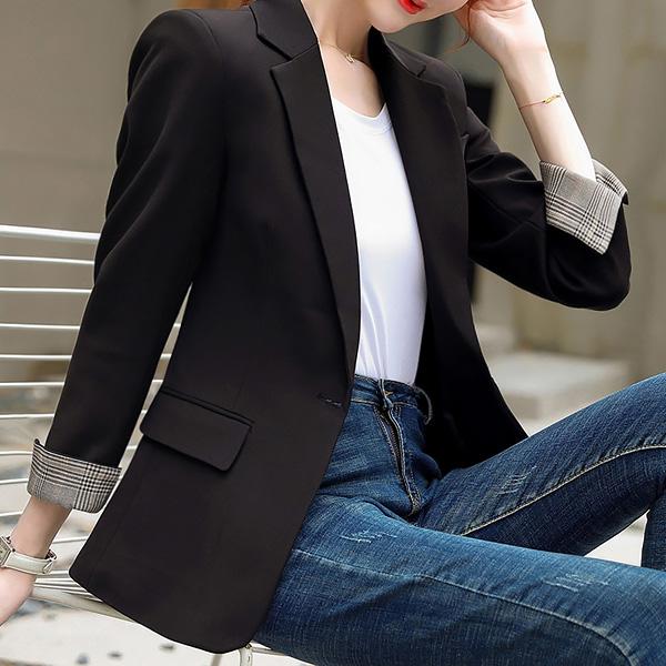 포플러앤씨 여성용 시슬리 롤업 체크 자켓