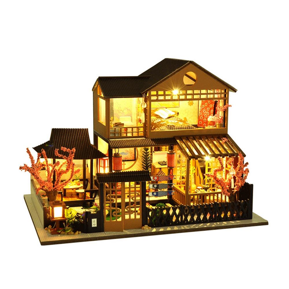 벚꽃 2층 하우스 미니어처 DIY 키트 + 아크릴케이스  혼합색상ADICO DIY 미니어처 풀하우스 키트  용문여관DIY 미니
