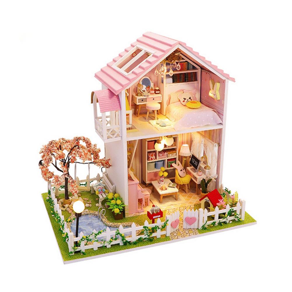핑크 벚꽃 하우스 NEW 미니어처 DIY 키트, 혼합색상