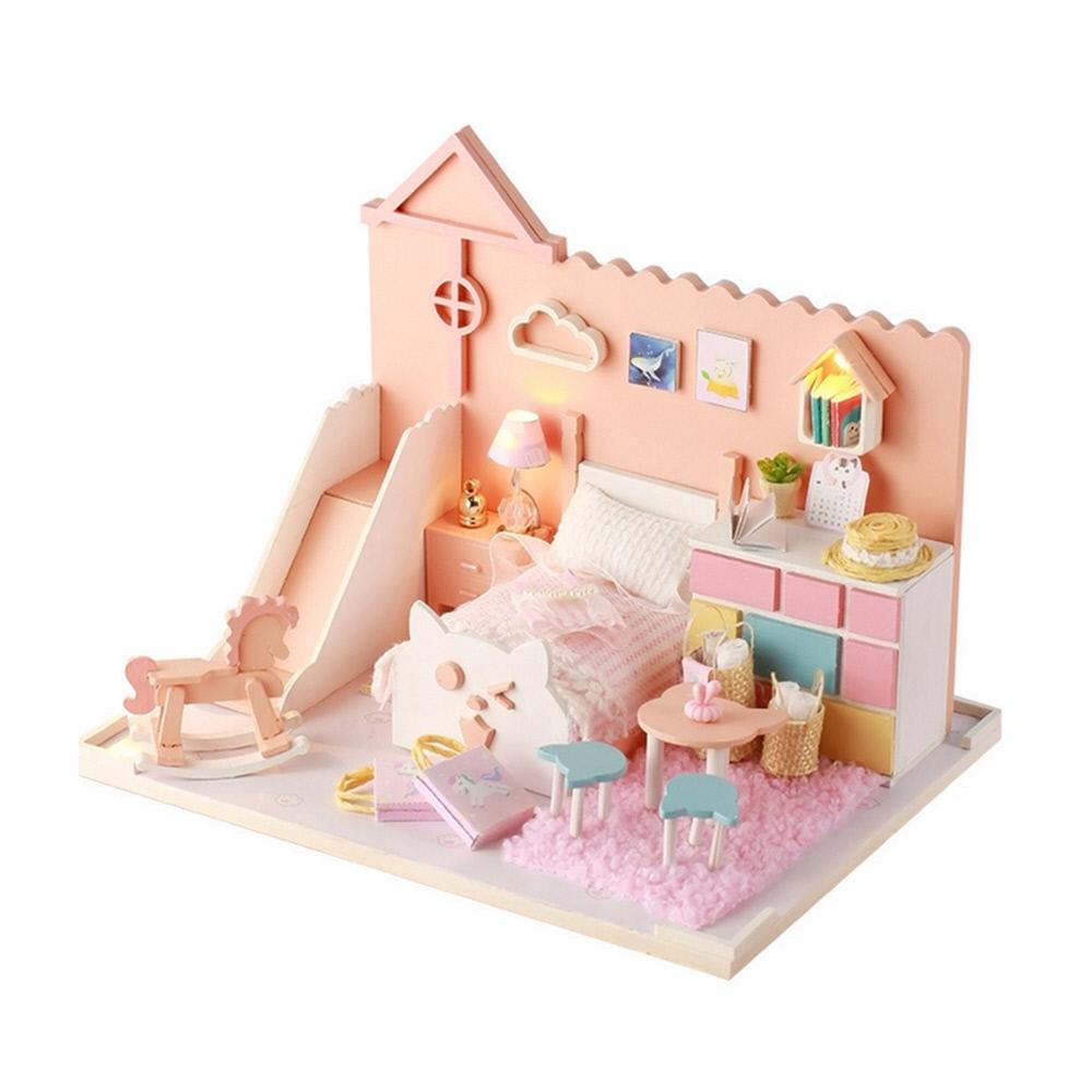 핑크 캣 하우스 미니어처 DIY 키트 + 아크릴케이스, 혼합색상