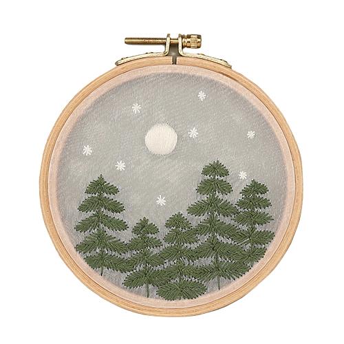 하비풀 밤의 숲 수놓기 프랑스자수 세트, 혼합색상