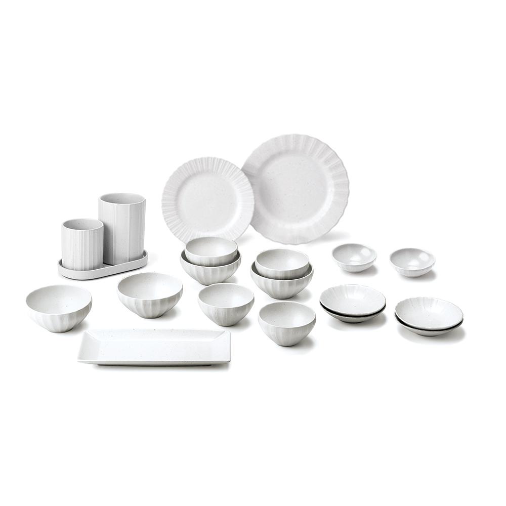 광주요 백합 4인 그릇 홈세트 20p, 백색, 식기 8종