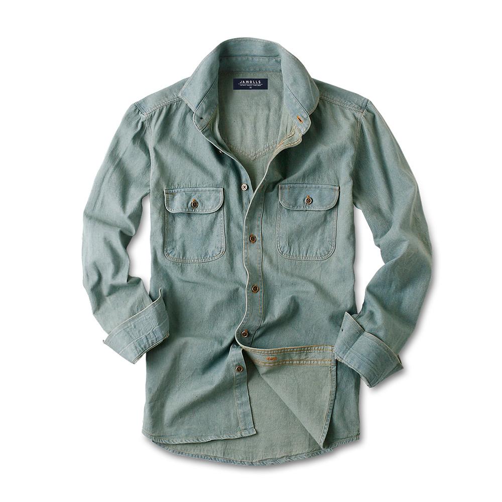 제이앤몰스 남성용 워싱 데님 긴팔 셔츠 JM065