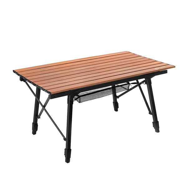 이타카 알루미늄 롤 테이블 90, 블랙 + 우드
