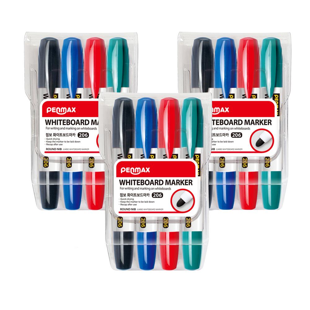 펜맥스 점보 화이트 보드마카 4색 세트, 검정, 청색, 적색, 녹색, 3세트