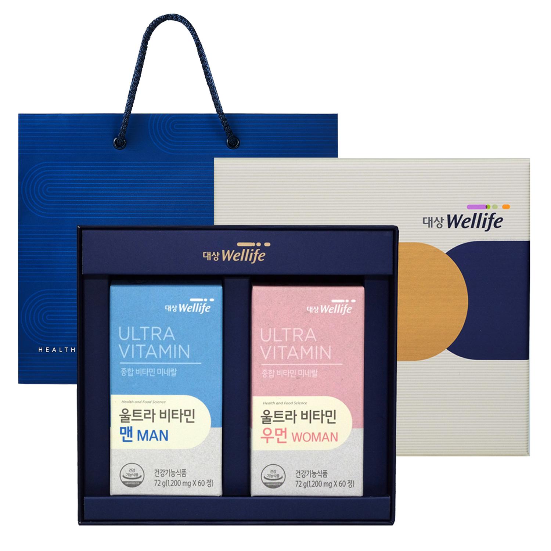 대상웰라이프 울트라비타민 맨 72g + 우먼 72g 선물세트 + 쇼핑백, 1세트
