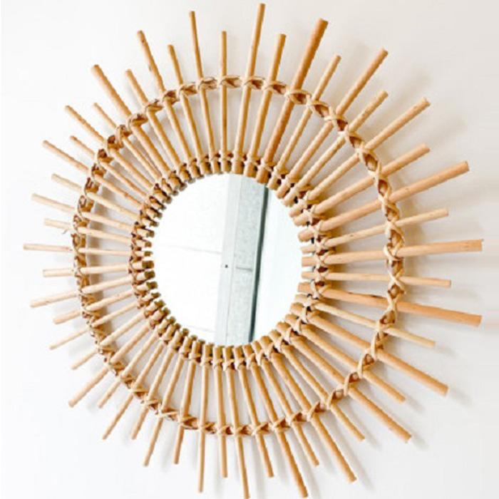 라탄 대나무 라운드 인테리어 벽거울, 혼합색상