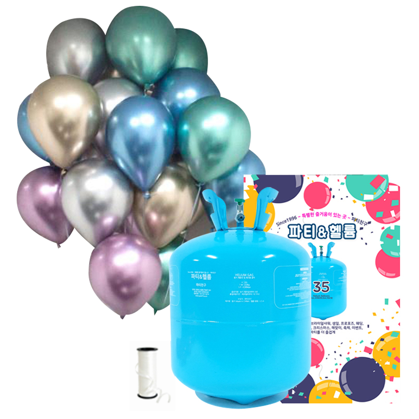 파티친구 35개용 헬륨가스 저압 + 크롬 혼합 풍선 25p + 컬링리본 세트, 혼합색상, 1세트
