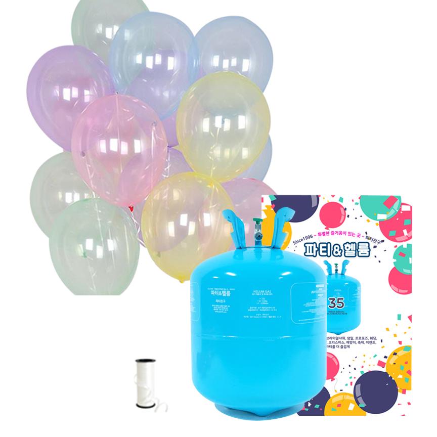 파티친구 35개용 헬륨가스 저압 + 크리스탈 파스텔 혼합 풍선 25p + 컬링리본 세트, 혼합색상, 1세트
