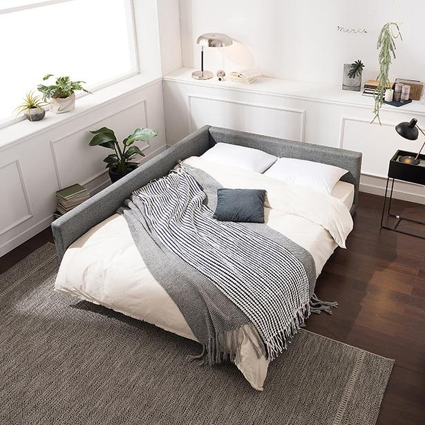 리바트 뉴탐 저상형 침대 슬림형 한쪽가드 프레임, 그레이