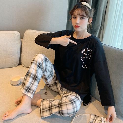 세컨핑크 여성용 고급체크 긴팔 투피스 잠옷 + 주머니 세트 HX9901