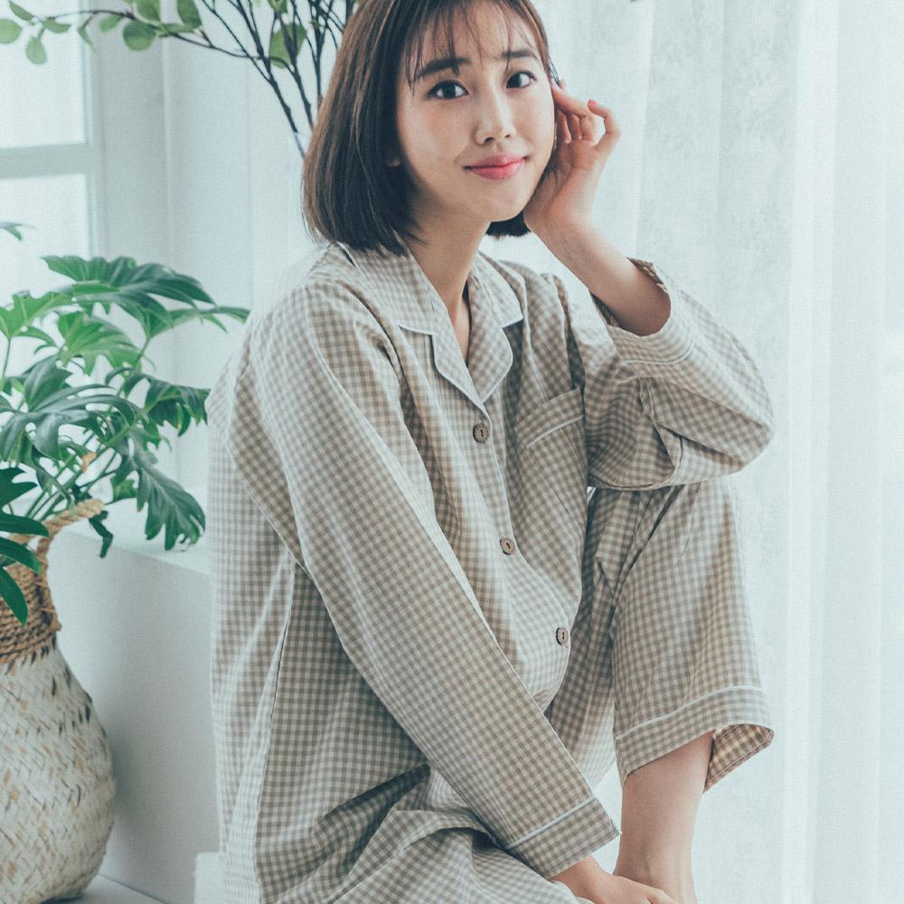 도씨 여성용 순면 긴팔 잠옷 카라 상하세트