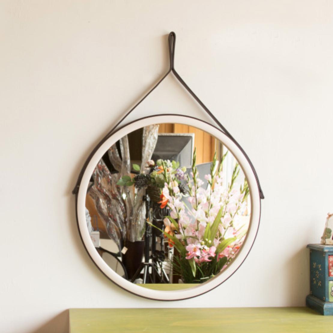 서운아트 스트랩 원목 원형 벽거울 45cm, 화이트