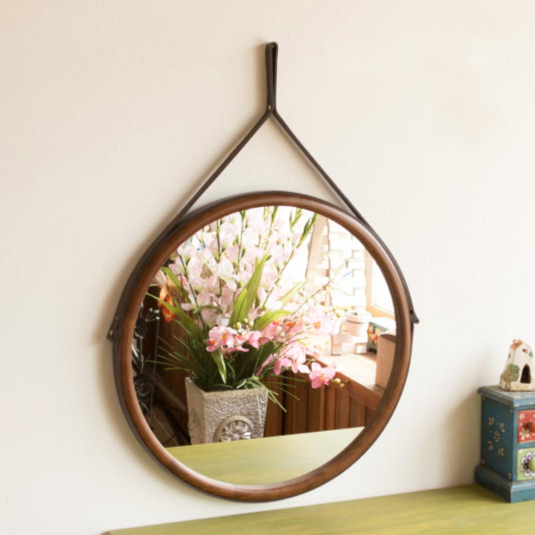 서운아트 스트랩 원목 원형 벽거울 50cm, 브라운