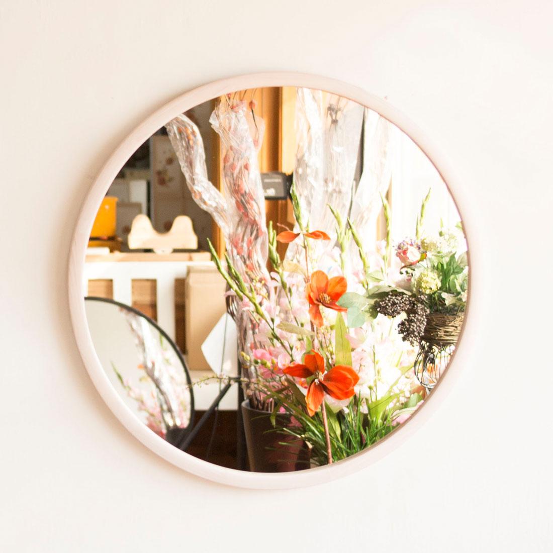 서운아트 오브 원목 원형 벽거울, 화이트