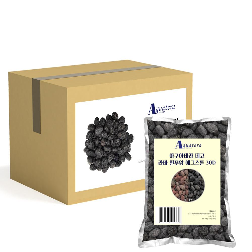 아쿠아테라 데코 라바 현무암 에그스톤 20~30mm 15kg, 블랙, 1개