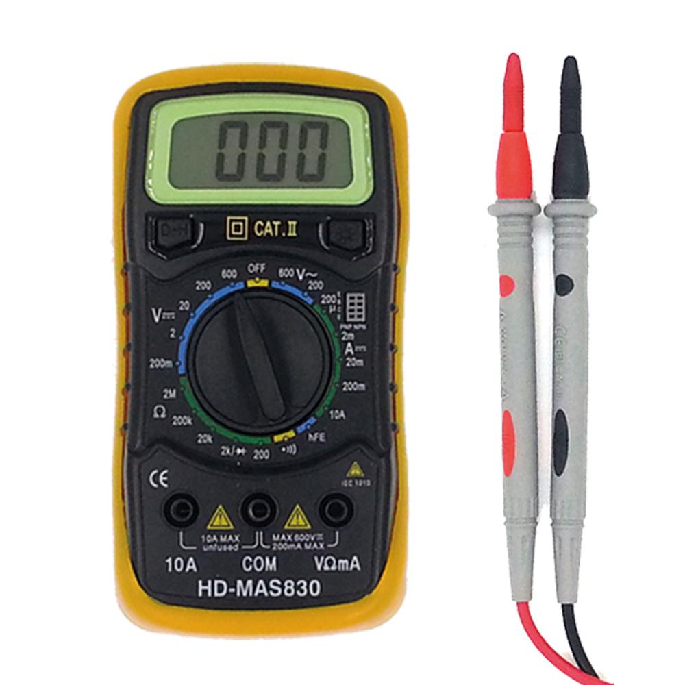 툴코드 디지털 멀티 전기 테스터기 MAS830 CAT 2 + 리드선 랜덤발송 세트, 1세트