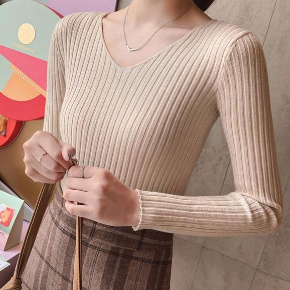 공블리 여성용 슬림핏 골지 V넥 긴팔 티셔츠 CST1169