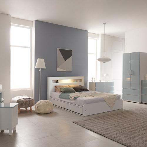 크렌시아 오로라2 LED 멀티수납 침대 + 본넬매트리스 방문설치, 화이트