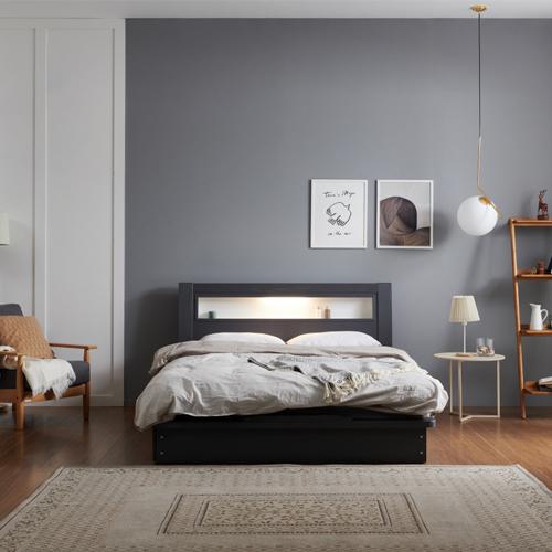 크렌시아 라이 LED 침대 + 본넬매트리스 방문설치, 그레이