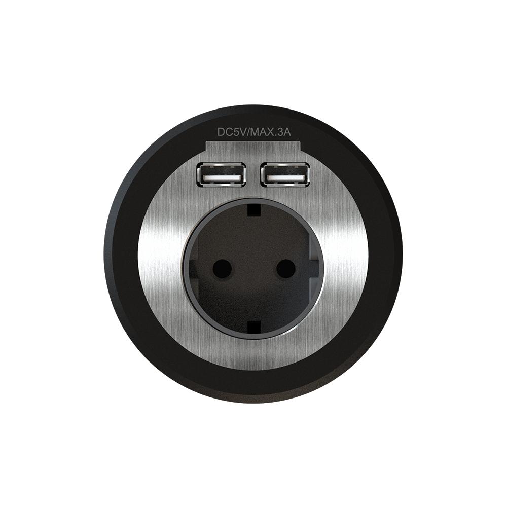 비아이에스 원형 빌트인 콘센트 블랙 BID-201, 1개