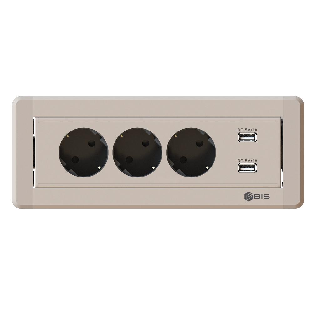 비아이에스 수동 회전 3구 멀티탭 USB 샴페인골드 BID-203M, 1개