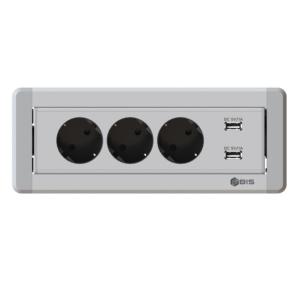 비아이에스 수동 회전 3구 멀티탭 USB 실버 BID-203M, 1개